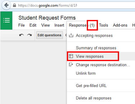 Google Forms – Student Request Form